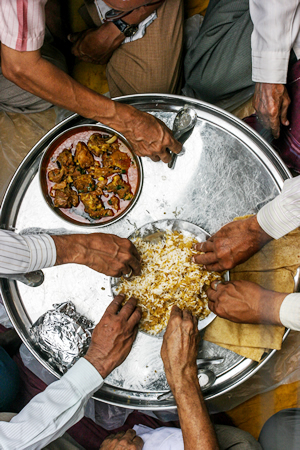 Eating in a thaal - fraught with challenges.